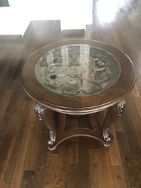 round brown wooden framed glass top coffee table White Rock, V4A 4N2