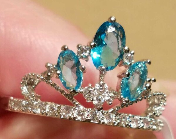New! SALE $5 Off Aquamarine Topaz Crown Ring With  f644b9f3-251b-4a38-b755-68c6ab795f46
