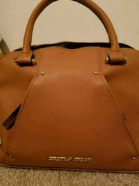 brown leather 2-way handbag