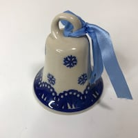 Collectible Boleslawiec Snowflake Stoneware Pottery Bell Hand Made