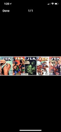 Five JLA comics from 2000-2001! Near mint and bagged! #42,46,47,49(newstand edition!),50(newstand edition!). All for one price. Free delivery if in area. FREE DELIVERY IF in area. London, N5Y 4A6