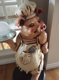 Resin chef pig statue. Stands 42 in and width is 16 in . Very detailed. We paid $850.00 asking$400.00