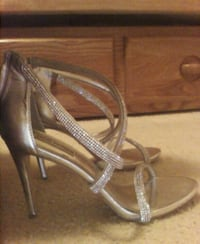 pair of gray leather open toe ankle strap heels Virginia Beach, 23456