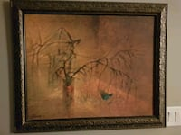 black naked tree painting with brown wooden frame