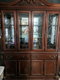 brown wooden framed glass display china cabinet San Jose, 95112