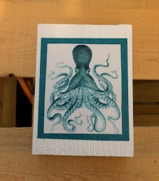 green octopus painting