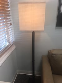 brown wooden base white shade table lamp ROCKVILLE