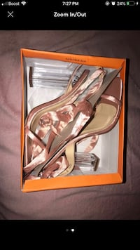 pair of brown leather open toe ankle strap pumps Bowie, 20721