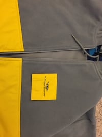 Gray and yellow zip-up pullover hoodie