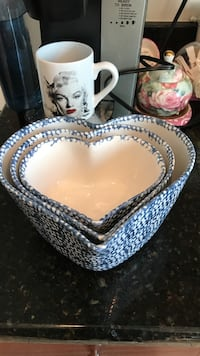 White and blue heart shape bowl set Gainesville, 20155