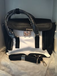 black and white leather tote bag Rosemead, 91770