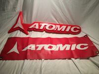 Atomic skis plastic sign and banner Buffalo, 14223