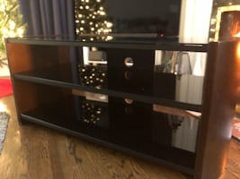 Tv stand - Wood & black glass