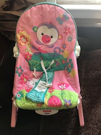 Baby's pink and green fisher-price bouncer rocking chair Welland, L3B