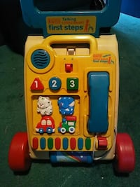 yellow and blue activity push walker
