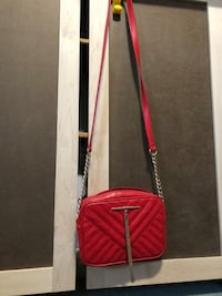 Long strapped Red Purse with Gold Accents Markham