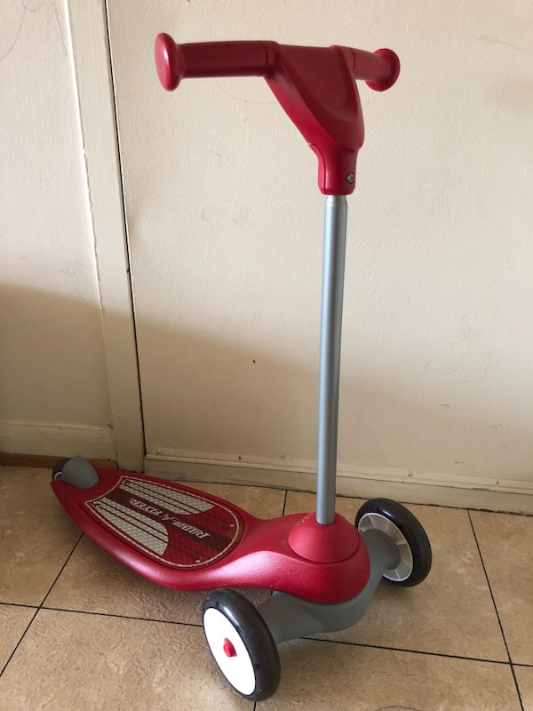Red and gray razor kick scooter for kids