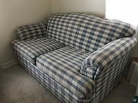 Blue and white plaid fabric loveseat with cushions Hellertown, 18055