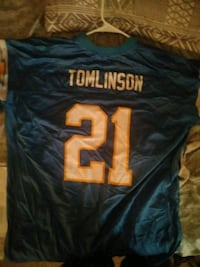 blue and white Tomlinson 21 NFL jersey