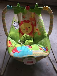 baby's green and white Fisher-Price bouncer 446 mi