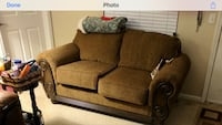 Brown fabric with wooden trim loveseat Bellevue, 68147