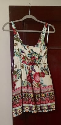 White, red, and green floral spaghetti strap dress Hudson, 01749