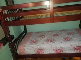 Wood twin over twin bunk bed