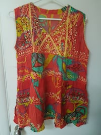 women's multicolored floral sleeveless top