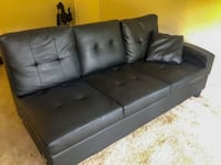 Black leather sectional couch  Laurel