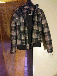 black and gray plaid button-up jacket