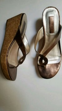 pair of brown leather open-toe heeled sandals Fayetteville, 30214