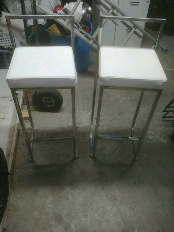Superb Two White Bouclair Bar Stools Gmtry Best Dining Table And Chair Ideas Images Gmtryco