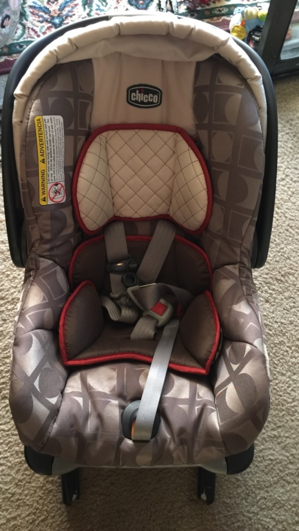 Brown Gray And Red Chicco Car Seat Carrier