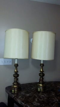 two gold and white table lamps Regina, S4R 4M2