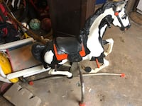 White and black horse ride on toy