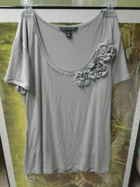 Womens Large Grey Flowery Shirt Sterling, 20165
