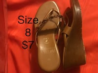 $7 Size 8 Tan Strapped Italian Wedge Sandals