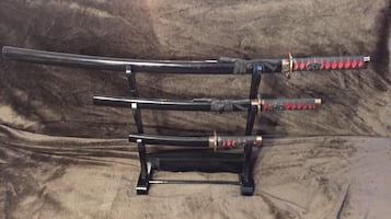 Three piece sword set w/ stand