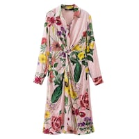 THE MATCH KNOTTED FLORAL PRINT LONG SLEEVED GOWN DRESS IN MULTI COLOR