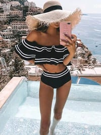 Striped Tiered Layer Bardot Bikini Swimsuit