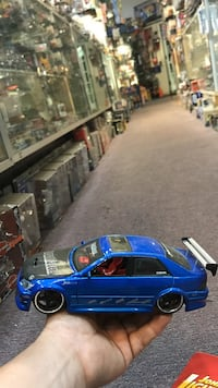 blue sports coupe scale model
