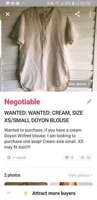 WANTED: WILFRED/ARITZIA DOYON BLOUSE Vaughan, L6A 1S1