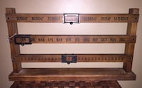 Vintage Wooden Manual Sliding Perpetual Desktop Calendar, Date / Day / Month   18X2X10  This wood calendar features 3 horizontal bars that each come with words printed in white. The first bar shows the days of the week, the second shows the months of the Calgary, T3E 6L9