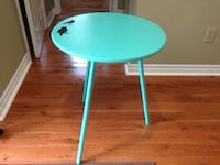 """TIFFANY BLUE"" ROUND ACCENT TABLE WITH GLASS CUT TO FIT TOP"