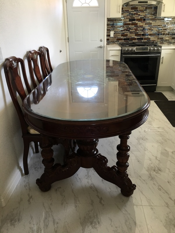 Beautiful Custom Handcrafted Dining Table Made In Vietnam Heavy And Strong High Quality Wood Comes With 8 Chairs Free