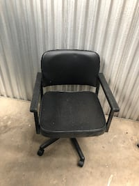 black leather padded rolling armchair Glenn Dale