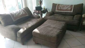 Two couches and ottoman