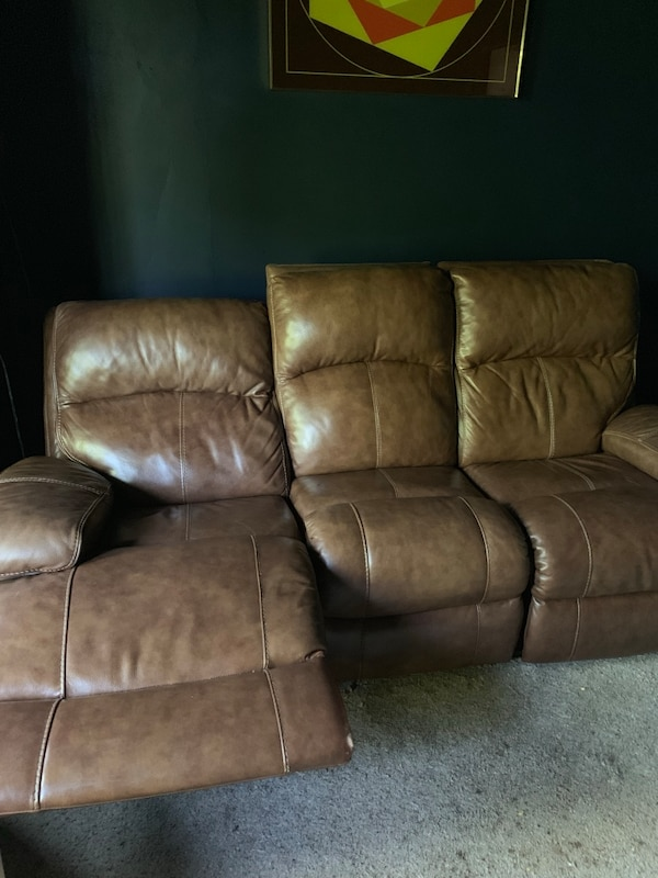 3 Piece Leather Couch With Electric Recliners
