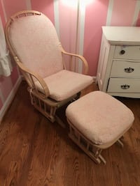 GLIDER AND OTTOMAN in light wood with sweet pink and white floral fabric. See 3rd photo for close up of fabric. Ottoman glides too! Perfect for nurseries or little girl's rooms   Potomac, 20854