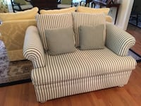 white and gray striped fabric sofa chair FREDERICK